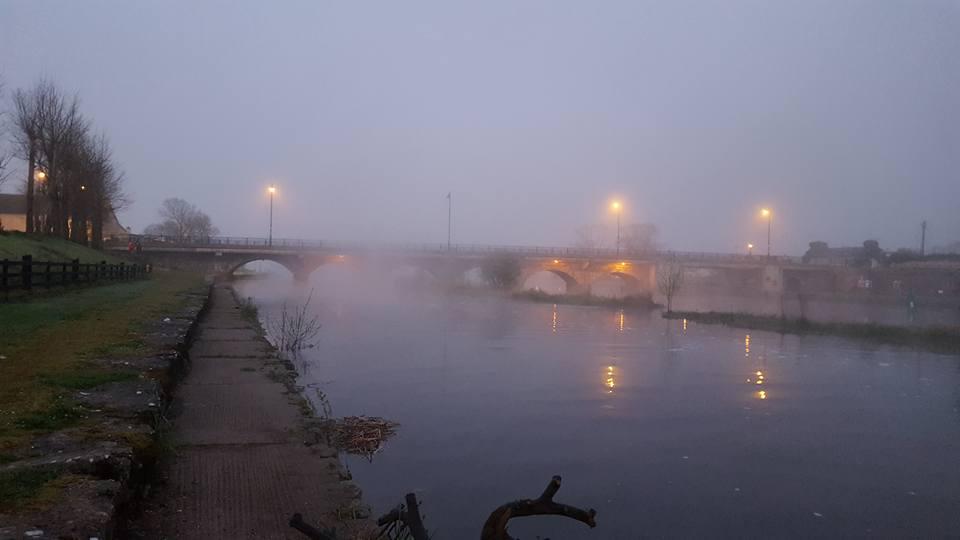 Een koude en mistige start van de dag.